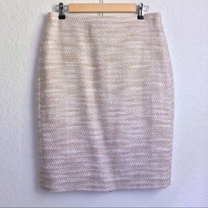 J.Crew Collection tweed peach silver pencil skirt